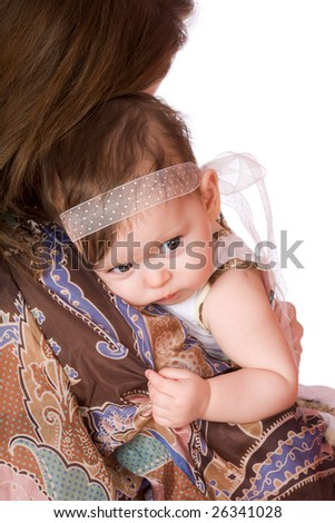 Mother with sad baby on shoulder isolated