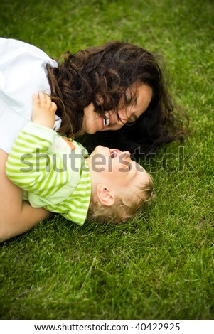 mother with son laughing