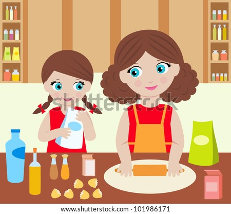 Mother with the daughter cook dough. Raster illustration.