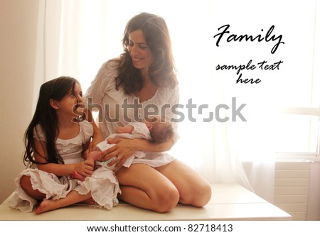 mother with two her kids