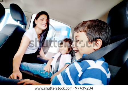 Mother worried about her children's safety in a car