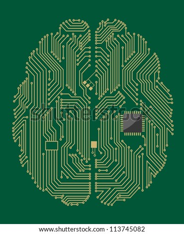 Motherboard brain on green background for technology concept. Vector version also available in gallery