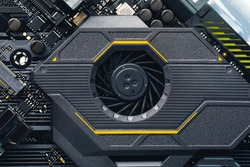 motherboard chipset ventilation cooling system, close-up view