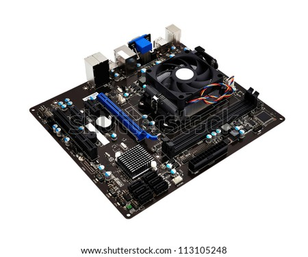 motherboard close up on white background