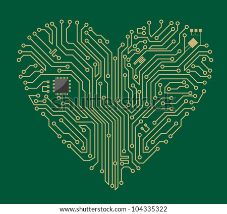 Motherboard computer heart for love concept design. Vector version also available in gallery - stock photo