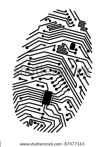Motherboard fingerprint for security or computer concept design. Vector version also available in gallery