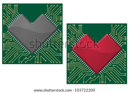 Motherboard heart chip on microcircuit background for technology concept design