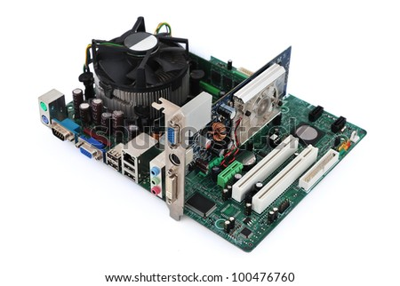 motherboard socket 775 and video card   on a white background