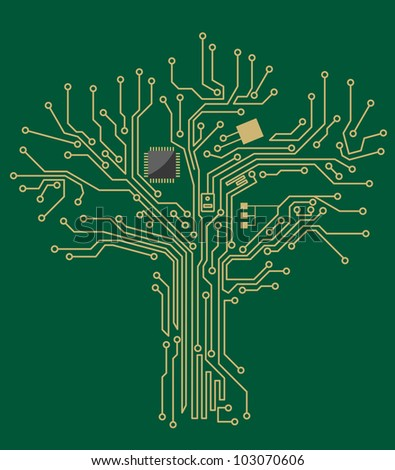 Motherboard tree on green background for technology concept design. Vector version also available in gallery