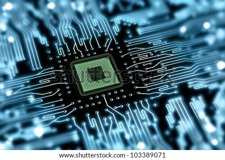 motherboard with processor - stock photo