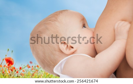 motherhood, children, people and care concept - close up of mother breast feeding adorable baby over blue sky and poppy field background