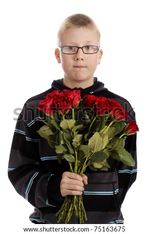 Mothers day : boy with bouquet of red roses. Isolated on white background