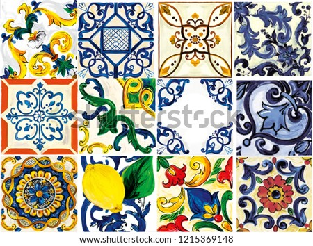 Motif Baroque Colored Patterns #1215369148