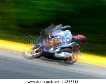 Motin blur. Motorcycle on the highway. Abstract background. Speed.