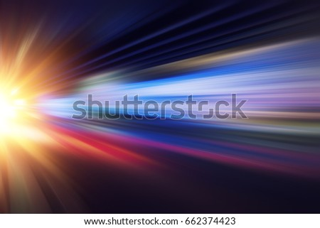 motion blur fast business and technology background concept, Acceleration super zoom blurry night road. #662374423