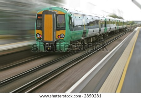 Motion blur from a fast speeding british train