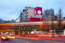Motion blur of a train at Akihabara Electric Town, Tokyo, Kanto Region, Honshu, Japan
