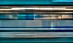 Motion blur of high speed train in subway,