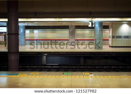 Motion blur of high speed train in subway, Narita airport station, Japan