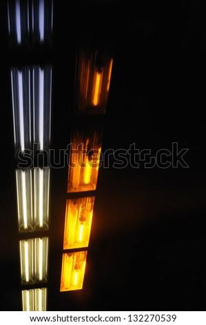 Motion blur of lights in underground transportation tunnel