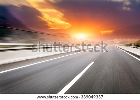 motion blur of the highway road #339049337