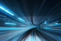 Motion blur of train moving inside tunnel