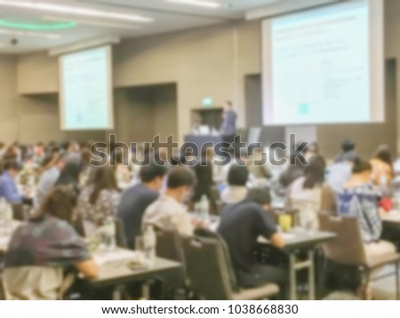 Motion blur of view of seminar with audience in a seminar room #1038668830