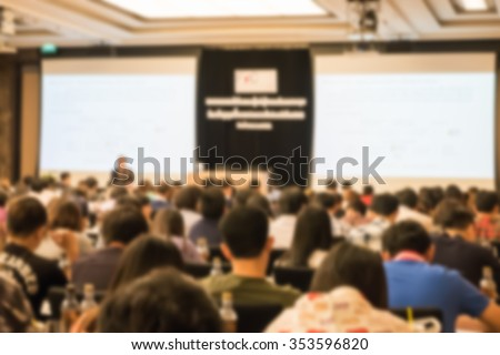 Motion blur of view of seminar with audience in a seminar room #353596820