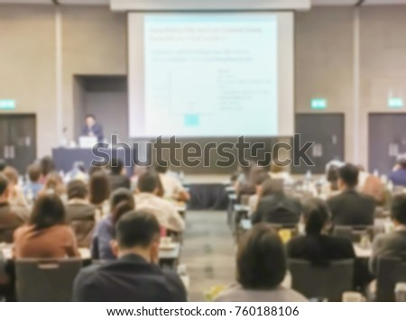 Motion blur of view of seminar with audience in a seminar room #760188106