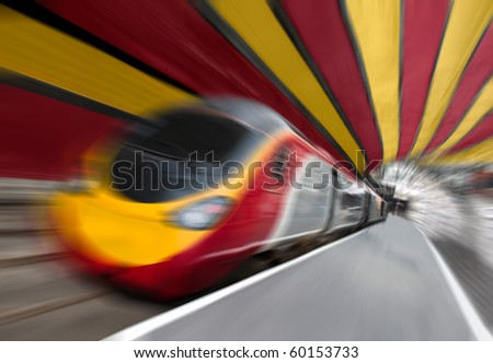 Motion Blur on Fast Passenger Speed Train Train in the Tunnel. Tilted View