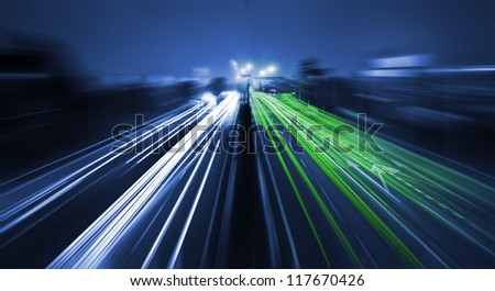 Motion blur on highway