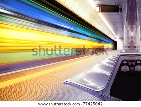 motion blur outdoor of high speed train in subway #77425042