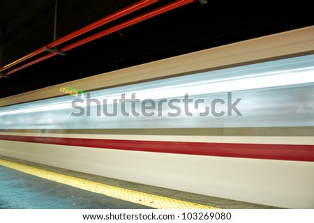 motion blur outdoor of high speed train in subway, Rome