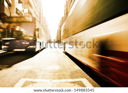 Motion blurred morning buses