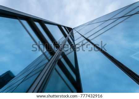 motion blurred office building glass wall exterior #777432916
