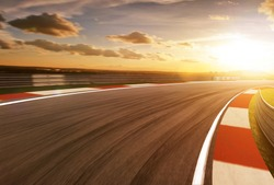 Motion blurred racetrack,golden hour mood