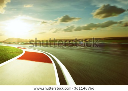 Motion blurred racetrack,vintage mood mood