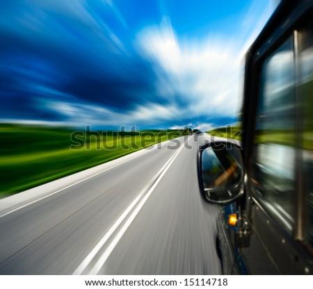 motion blurred road