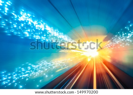 motion fast in the underground tunnel