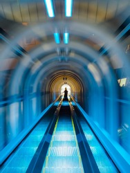 Motion of moving escalator with a people on. Concept: time traveling, travel through multiverse world, parallel universes, next life.