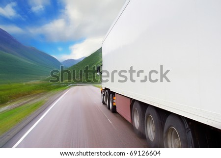 Motion of semi-truck on the mountain road