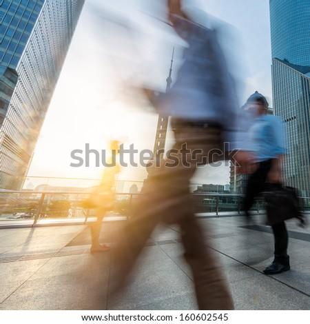 motion passengers walking on the landmark of shanghai china background. #160602545