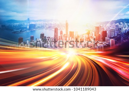 Motion speed effect with city background #1041189043