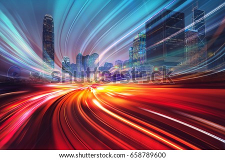 Motion speed effect with City Night Illustration #658789600