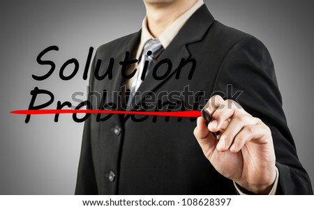 Motivation concept. Businessman write the word problem and solution