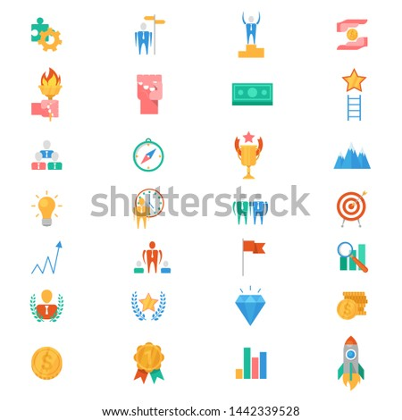 Motivation icons motivated business signs to inspire for achievement goals and success illustration of motivational set isolated on white background