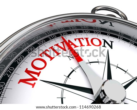 motivation red word indicated by compass conceptual image on white background