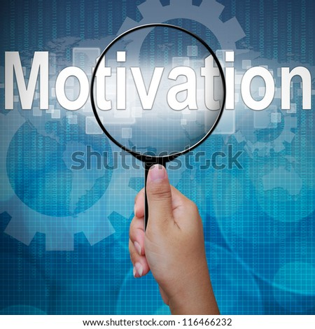 Motivation, word in Magnifying glass ,business background