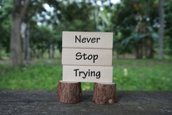 Motivational and creative concept; Wooden blocks arranged with words Never Stop Trying with nature background