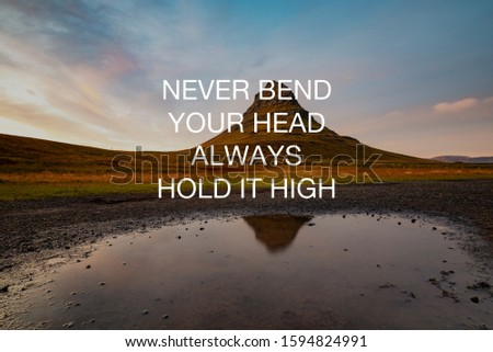 Motivational and inspirational quotes - Never bend your head always hold it high.